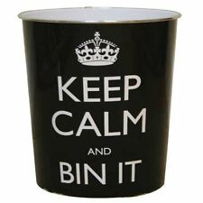 Black Keep Calm And Bin It Waste Paper Rubbish Bin Approx 26cm x 25cm