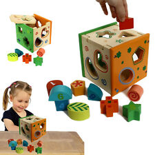 Dazzling Toys Wooden Shape & Number Sorter Cube Kids Colored Educational Blocks