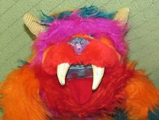 "Vintage Amtoy GWONK 1986 My Monster Pet 11"" HAND PUPPET Plush Orange Purple +"