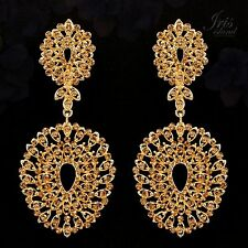 18K Gold Plated GP Topaz Crystal Rhinestone Chandelier Drop Dangle Earrings 0537