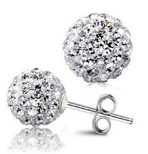 8 MM 2CT CZ CUBIC ZIRCONIA STUD DISCO BALL EARRINGS CRYSTAL WEDDING SWAROVSKI