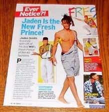 Shirtless JADEN SMITH Chest Bare Feet Will's Son Pinup Clipping 8X10