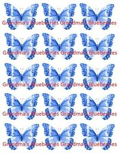 Edible Blue Sparkle Butterflies Wafer Wedding Cake - Cake Decorations set of 15