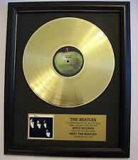 Meet The Beatles Gold LP Record + Mini Album Disc Not a RIAA Award + Plaque