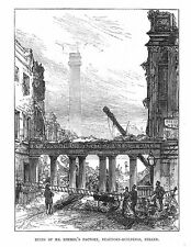 LONDON Ruins of Rimmel's Factory at Beaufort Buildings Strand-Antique Print 1875