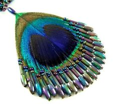 "Handmade 2.4"" Iridescent Peacock Feather Beads necklace 19.5"" long ; FA009"