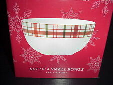 Martha Stewart Festive Plaid Small Bowls Christmas Holiday Set 4 In Box