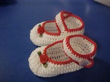 CROCHET HANDMADE BABY GIRL DOLL BOOTIES SHOES WHITE & RED MJ
