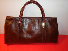 "Sak's Fifth Avenue Brown Leather Hand Bag Made in Italy (15 by 8 by 3"")"