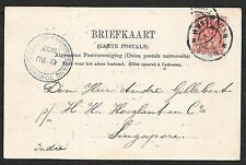Netherlands covers 1903 PPC cancel  PENANG TO SINGAPORE