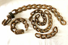 Vintage Lot Of 4 Metal Industrial Chain Strands Links Steampunk Art Rustic!