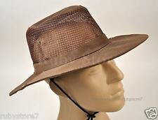 Men's Brown Hunting Fishing Hiking Sun Hat Cool Outdoor Cap Wide Brim A02
