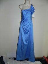 DAVIDS BRIDAL SZ 2 ONE SHOULDER SATIN BALLGOWN CORNFLOWER BRIDESMAID NWT $159