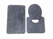 5th Avenue 3 Piece Bathroom Rug Set - Bath Mat, Contour, Cover (Silver)