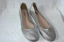 J CREW QUORRA LEATHER BALLET FLATS METALLIC SILVER SIZE 6.5 $158 36266