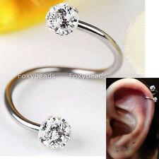 16G Crystal Stainless Steel Twist Ear Helix Cartilage Earring Stud Body Piercing