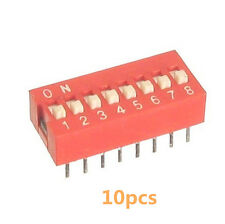10Stk  2.54mm Pitch 8-Bit 8 Positions Ways Slide Type DIP Switch Rot