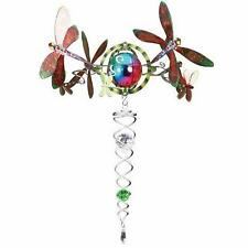 RRP £30 - Iron Stop Gazing Ball 3D DRAGONFLY Topper Silver Twister Green Crystal