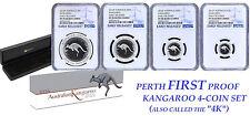 2016 Australia Red Kangaroo Silver Proof 4 Coin Set NGC PF 70 1 1/2 1/4 1/10 oz