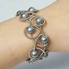 NEW STUNNING LUSTROUS GRAY FRESH WATER PEARL SILVER PIANO WIRE NETTING BRACELET