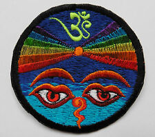 * Round Sew On Patch * Nepalese Made * 8cm * Rainbow Om Buddha Eyes