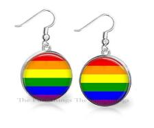 Gay Pride Rainbow Colors Flag Dangle Earrings 22mm Handcrafted Artisan Jewelry