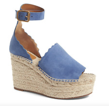NEW $660 CHLOE LAUREN WEDGE ESPADRILLE LIGHT BLUE SUEDE SANDAL 39