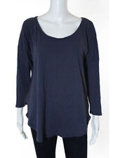 REBECCA TAYLOR Dark Blue Scoop Neck Long Sleeve Blouse Top Sz L