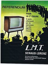 PUBLICITE ADVERTISING 104 1963 SCHAUB-LORENZ L.M.T. Télévision