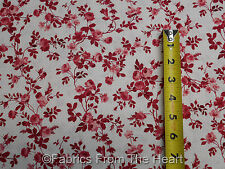 Beacon Hall Cardinal Red Rose Flowers on White BY YARDS Northcott Cotton Fabric
