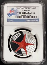 2011 P Proof Australia, Starfish, 50 Cents silver coin! NGC PF 70 Ultra Cameo!