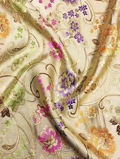 Brocade Chinese floral blossom oriental asian  Gold Fabric