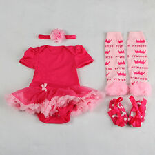 Kids Infant Baby Girl Clothes Headband+Romper+Leg Warmers+Shoes Bodysuit 6-9M