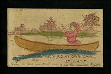 Novelty vintage Wooden postcard Woman in Canoe hand colored 1906