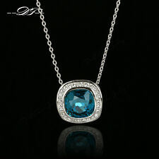 New Square Cut Big Blue Crystal Chain Necklaces & Pendants 18KGP Fashion Jewelry