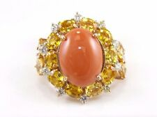 Oval Orange Coral Ring w/Yellow Sapphire & Diamond Accents 14k Rose Gold 11.73Ct