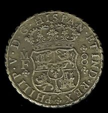 MEXICO 1743-MF SILVER 8 REALES -REIJGERSDAAL SHIPWRECK COIN- ABOUT UNC DETAILS