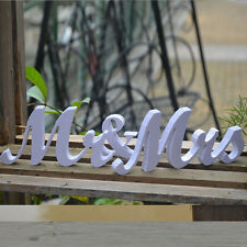 Mr and Mrs White Letters Sign Wooden Standing Top Table Wedding Decoration