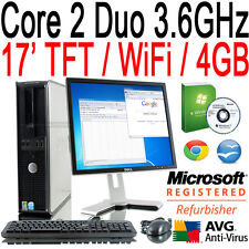 DELL FULL SYSTEM WINDOWS 7 CORE 2 DUO CHEAP DESKTOP TOWER PC TFT COMPUTER