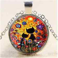 Beautiful Black Cat Cabochon Glass Tibet Silver Chain Pendant Necklace