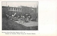 c.1905 Chopping Wood Corner Central Wood Yard Pacific St. Brooklyn NY post card