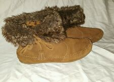 Minnetonka Brown Suede Fur Trim Moccasin Ankle Boots Style 84324 Women Size 9