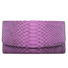 Genuine Python Snake Skin Leather Purple Trifold Long Wallet Lady Purse Kanthima