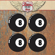 8 Ball Stickers 50mm Car Van VW Beetle Camper Hot Rat Rod Wheel Centre Decal