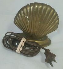 Vtg Brass Sea Shell Ocean Brass Bronze Lamp Light