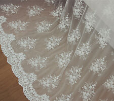 "White Embroidery Floral Bridal Lace Fabric 51"" Wide for Wedding Dress 1/2 Yard"