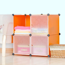 DIY Home Storage Cube Cabinet for Clothes Shoes Bags Office, Orange (4) Cubitbox