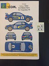 DECALS 1/43 SUBARU IMPREZA WRC JUHA KANKKUNEN RALLYE ARGENTINE 1999 RALLY