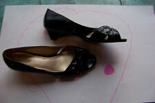 womens east 5th black patent open square toe mini wedge heels shoes size 9