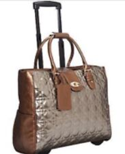 Cabrelli & CO Rolling Tote Carry on Wheeled Laptop Briefcase Quilted Bronze